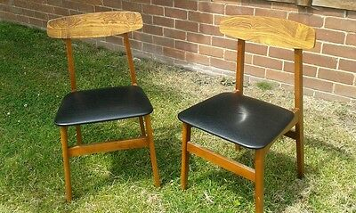 A Pair of Vintage Mid-Century Retro 1960's/70's Dining Chairs - Black Vinyl