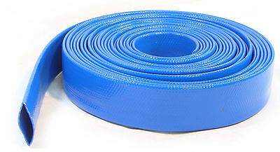 38mm X 10 Meter Layflat PVC Tubing Water Delivery Hose Discharge Irrigation Blue