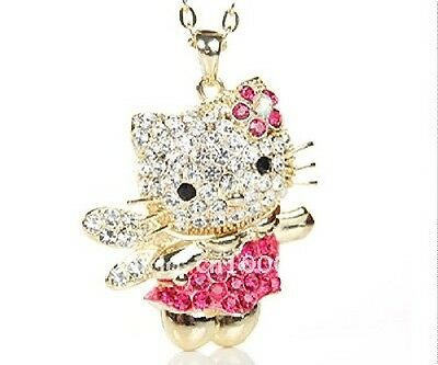 New gold or silver plated crystal angel hello kitty necklace with 40cm chain