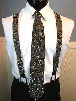 Vintage Formal Silk Tie And Suspenders Set Including Pant Buttons Arthur Barry