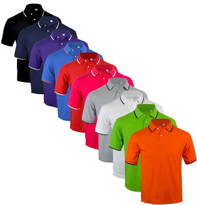 Mens Short Sleeve Plain Tipping Polo Shirt T shirt Top Casual Cotton Mix S-XXL