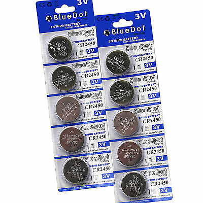 SHIPS FROM CA! 10 Pcs 3V CR-2450 Lithium Button Cell Coin High Energy Batteries