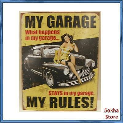 """My Garage What Happens in My Garage My Rules Tin Sign 16"""" By 13"""""""