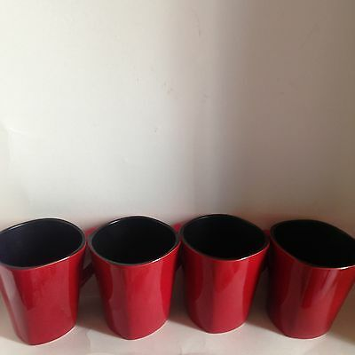 4 Home Trends Coffee Mugs Cups Red & Black Excellent Condition