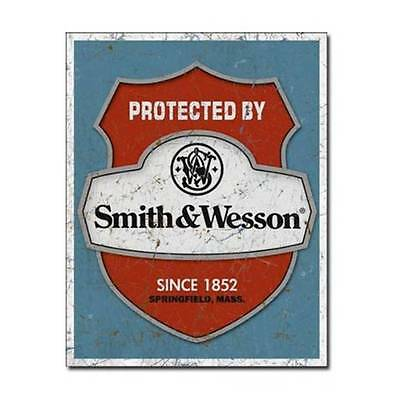 """Smith & Wesson - Protected By Tin Sign 12.5"""" X 16"""""""