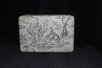 lovely Vintage French toile de jouy style tole tin box chateau chic
