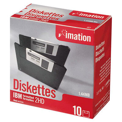 "Imation 1.44Mb 3.5"" Ds-Hd Diskettes / Floppy Discs / 10 Pack / Black"