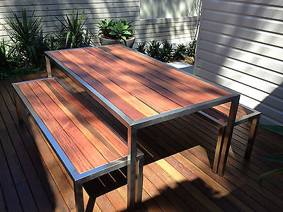 Custom Made Brand New Stainless Steel Timber Outdoor Setting With 2 Benches