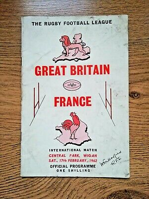 Great Britain v France 1962 Rugby League Programme