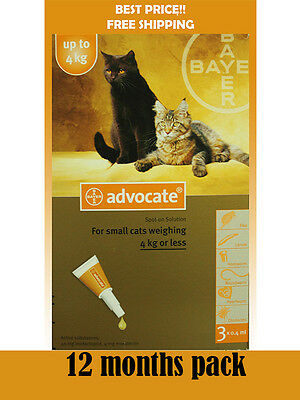 Advocate For Cats Up To 4kg Small Cats 12 Pack Flea and Lice Treatment exp 2020