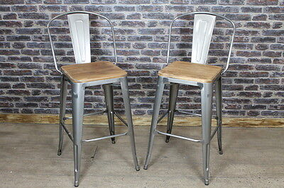 Vintage Industrial Tolix Style Bar Stool With Wooden Seat In Gun Metal