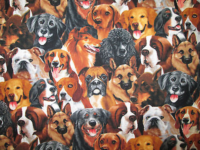 Dogs Breeds Dog Realistic Small Cotton Fabric Fq