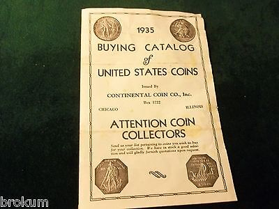 ORIGINAL 1935 COIN BUYING CATALOG CONTINENTAL COIN Co. CHICAGO ILLINOIS  (NC)