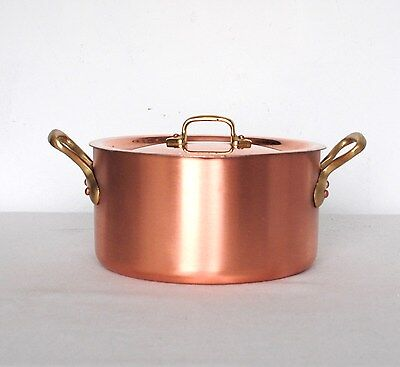 HEAVY COPPER / BRASS POT CASSEROLE with LID THICKNESS 3,3 mm 3,1 kg