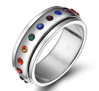 316L Titanium Stainless Steel Silver Polished Spinner Rainbow Ring and Band 8mm