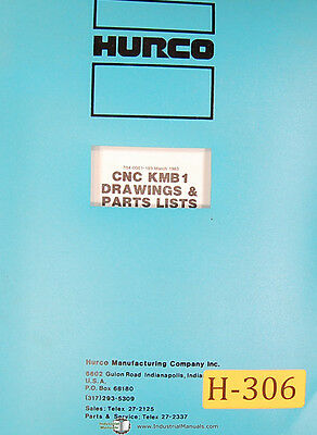 Hurco KMB1, Milling Machine Electrical Drawings and Parts List  Manual 1983