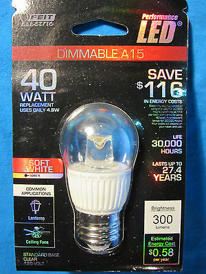(1) Feit Performance LED A15 Multi-Use, Dimmable, Replaces 40 Watt, Saves $$$