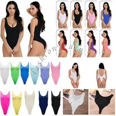 Womens Sexy One-piece High Cut Sheer See Through Bodysuit Tops Swimsuit Lingerie