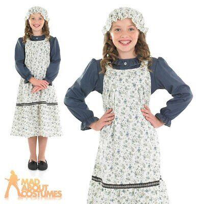Victorian School Girl Costume Child Book Day Fancy Dress Outfit Age 6-12