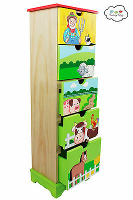 Childrens Happy Farm themed Wooden 5 Drawer Storage Unit Cabinet for Kids
