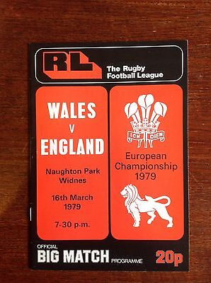 Wales v England 1979 Rugby League Programme