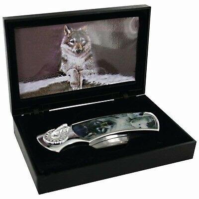 New Lone WOLF Decorative Lockback KNIFE & CASE Box Pocket Folding Blade Hunting
