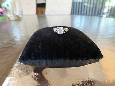 """Vintage Solitaire White Moonstone Crystal Silver Plated Filigree Ring """"Gorgeous"""