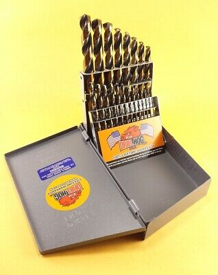 Drill Hog® USA 21 Pc Drill Bit Set Index Hi-Molybdenum M7 MOLY Lifetime Warranty