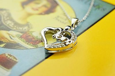 "Sterling Silver 925 Mom CZ Heart Pendant with Extender/Adjuster 16-19"" Necklace"