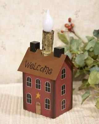 Red Saltbox House LED Battery Taper Candle Light Country Primitive Accent Lamp