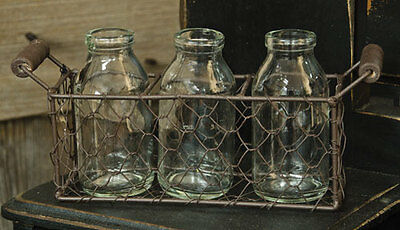 Rusty Primitive Country Chicken Wire Gathering Basket with Bottles Wood Handles