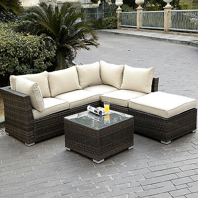 6PC  Patio Sectional Furniture PE Wicker Rattan Sofa Set Deck Couch Outdoor New