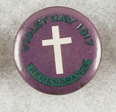 World War One Australia Violet Day 1917 Remembrance Pinback Button Badge- RARE