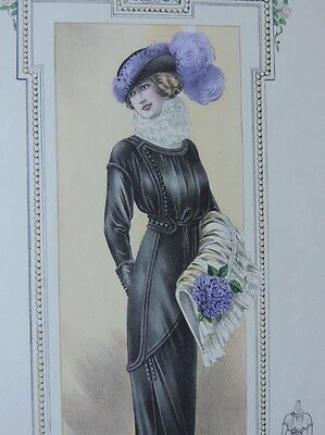 LA FEMME CHIC a PARIS SUPPLEMENT SOBRE ELEGANCE ALTE MODE KLEID HUT CA. 1912