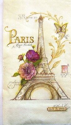 THREE (3) Paris-Eiffel Tower Hostess Napkins for Decoupage and Paper Crafts