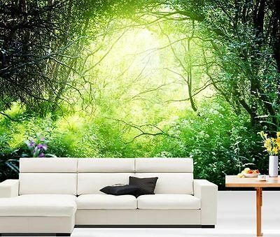 Deep Forest Sun Light Nature 3D Full Wall Mural Photo Wallpaper Home Decal Kids