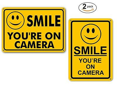 (2) Smile You're On Camera Security Yard Sign