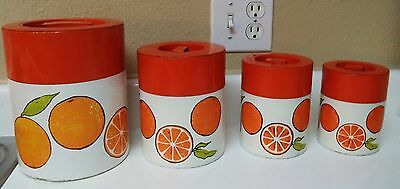 Set of 4 Vintage Retro Shabby CHIC Metal / Tin Kitchen Canisters -Orange Design