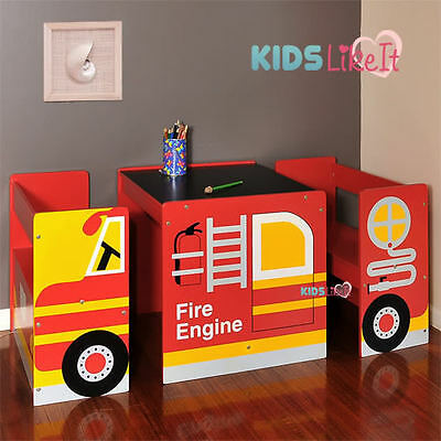 KIDS CHILDRENS Wooden FIRE ENGINE Truck RED CAR Table Chairs Seat SET FURNITURE