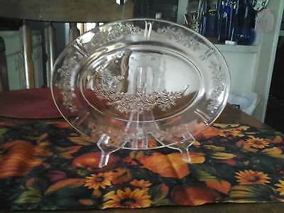 Cabbage Rose Pink Depression Glass Platter