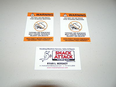 "SODA VENDING MACHINE (2)Decals ""WARNING Do Not Tip or Rock This Vending Machine"""