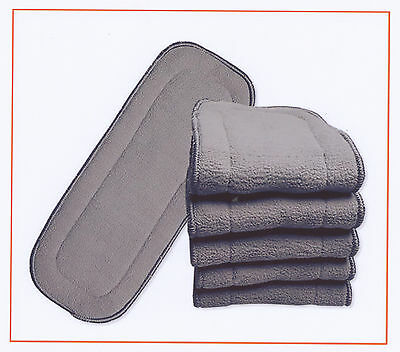 20x Charcoal Nappy Inserts For MCN 11*28cm New 5 Layers Bamboo Washable Reusable