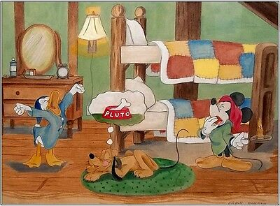 SIGNED Framed 1930's-40's Watercolor Mickey Donald Pluto late Disney Artist COA