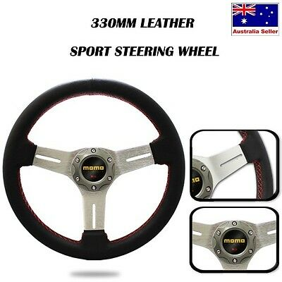 330mm BLADE Flat Leather Titanium Sport Steering Wheel