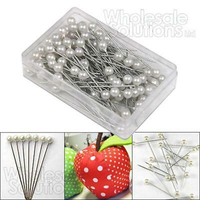 Pearl Pins Dress Making Crafts Corsage Florist Heads 1.5 Inch Bouquet 100 - 1000