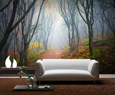 Into Mist Forest Nature Fog 3D Full Wall Mural Photo Wallpaper Home Decal Kids