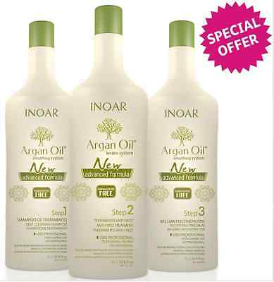 Inoar Argan Oil Brazilian Keratin Treatment Blow Dry Hair Straightening Kit 300