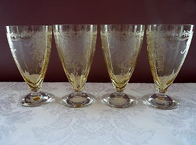 FOSTORIA 1930's Topaz Yellow GLASS Etched JUNE pattern Set 4 ICED TEA GLASSES