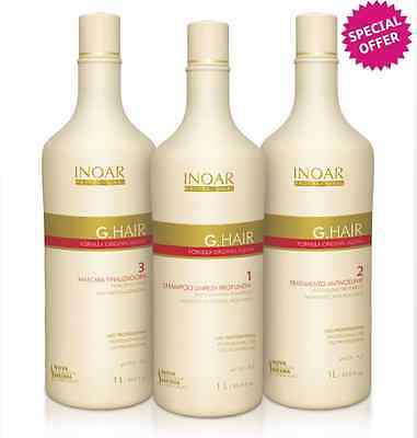 INOAR G HAIR BRAZILIAN KERATIN TREATMENT BLOW DRY HAIR STRAIGHTENING 3x100ml KIT