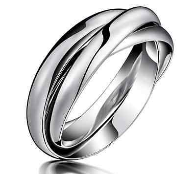 Unisex Stainless Steel 316L Silver Interlocking Trinity Band Rolling Ring